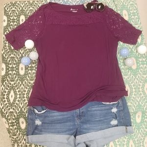 Lane bryant deep berry 18/20 tshirt w/lace sleeves